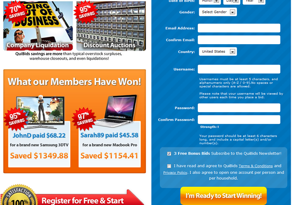 How to use the quibids promotion code to get 10 free bids for Get bids