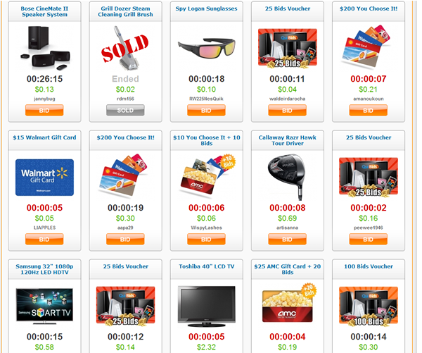 Screen shot of homepage of Quibids.com Penny Auction